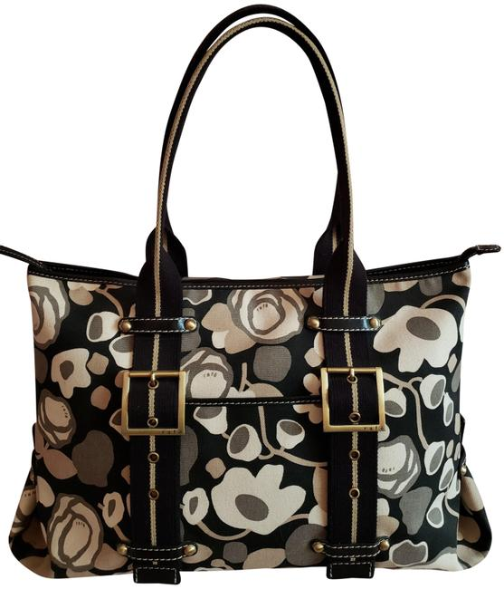 Item - New Old Stock Leather Trim Tote Zippered Black Taupe Tan Beige Monogram Canvas Satchel
