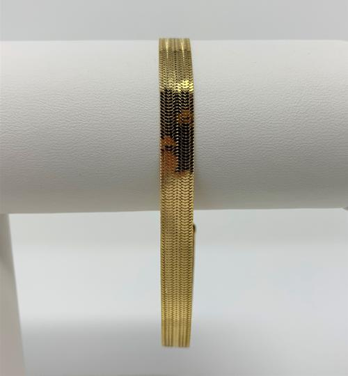 Milor 14k Gold Reversible Smooth Etched Milor Herringbone Bracelet 7.5