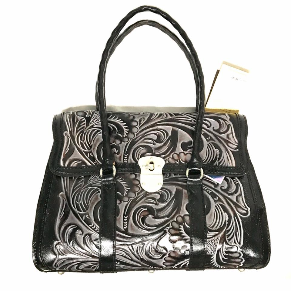22d7cfe211a3b2 Patricia Nash Designs Tooled Black Leather Satchel - Tradesy