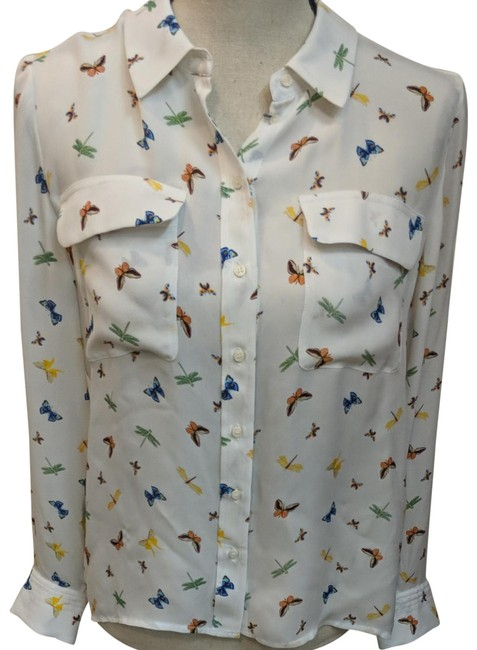 Item - White Multi Butterfly Button-down Top Size 12 (L)