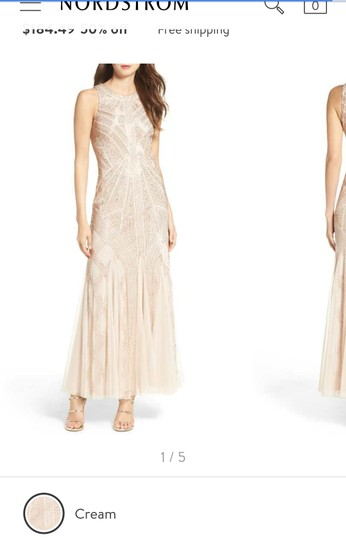Preload https://img-static.tradesy.com/item/24645786/adrianna-papell-crem-polyester-beaded-gown-vintage-bridesmaidmob-dress-size-10-m-0-0-540-540.jpg