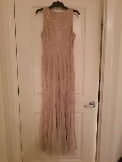 Adrianna Papell Cream Polyester Beaded Gown Vintage Bridesmaid/Mob Dress Size 10 (M)
