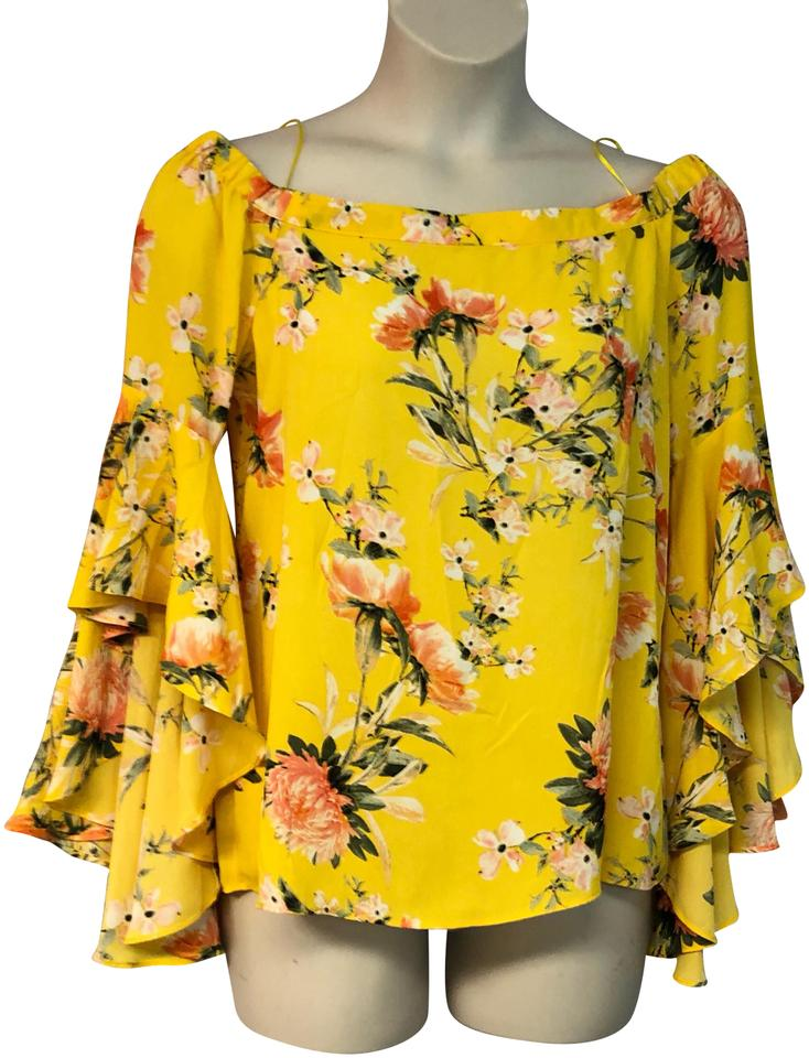 be4d35abf33f9 Rose   Olive Yellow Floral Print Cold Shoulders Poly L Blouse Size ...