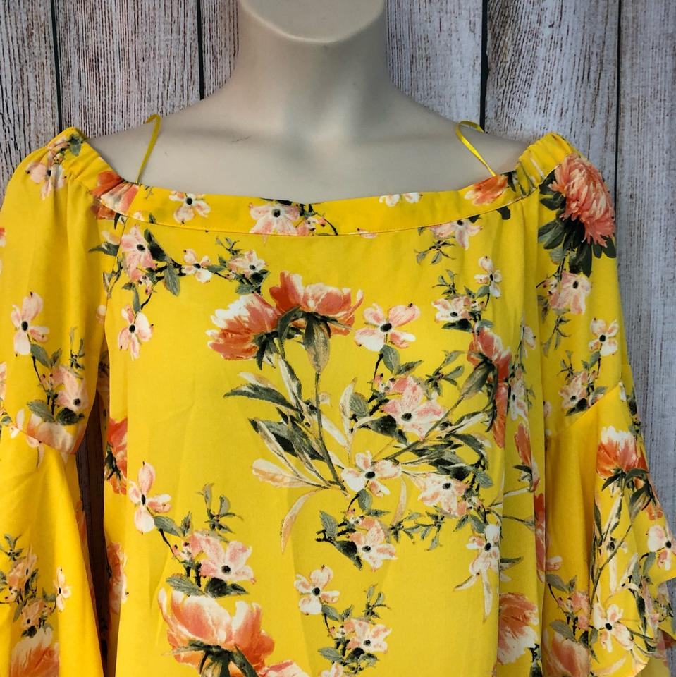 442570d96699a Rose   Olive Yellow Floral Print Cold Shoulders Poly L Blouse Size 12 (L) -  Tradesy