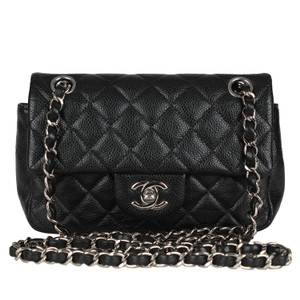 Chanel Classic Flap Caviar Leather Silver Hardware Cross Body Bag