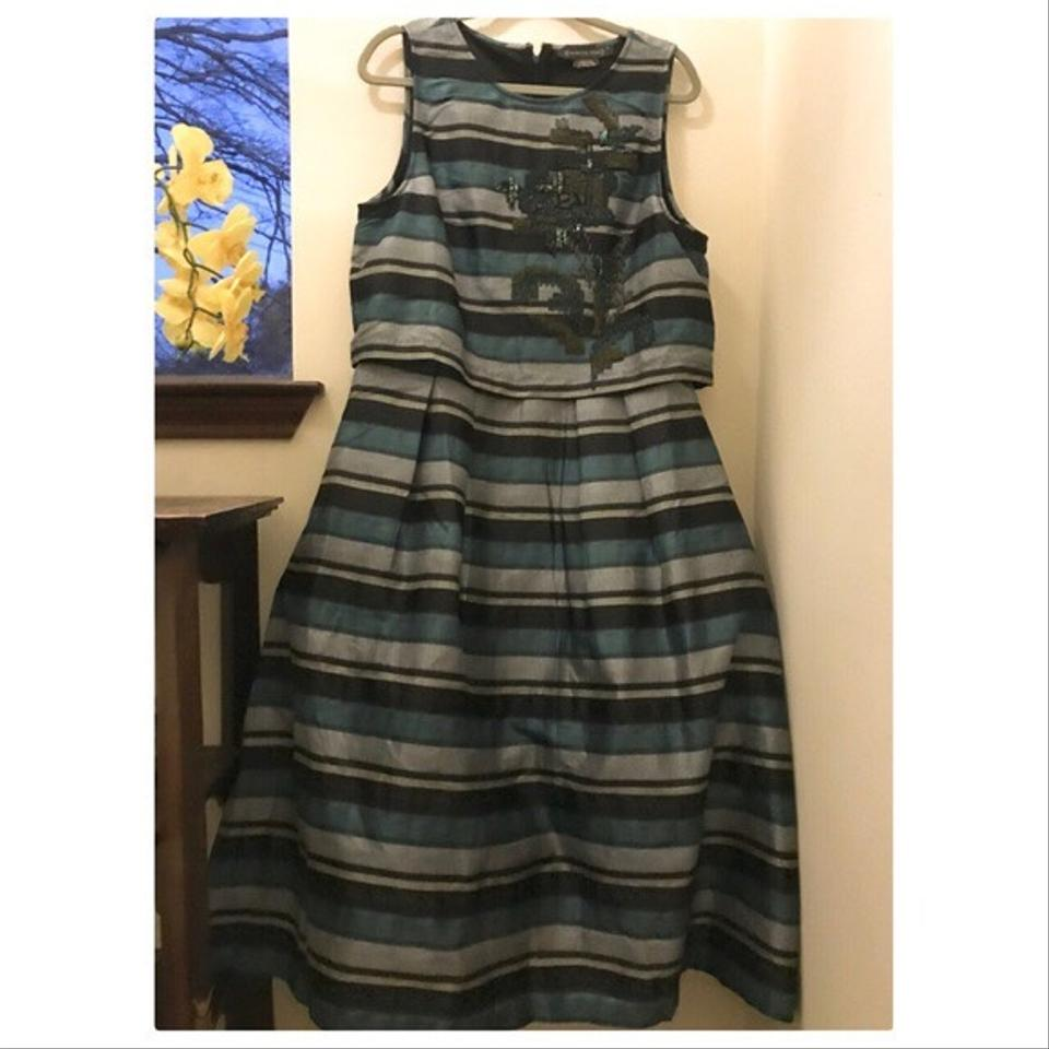 288a15080dac Anthropologie Black Blue Striped Forrester Mid-length Formal Dress Size 14  (L) - Tradesy