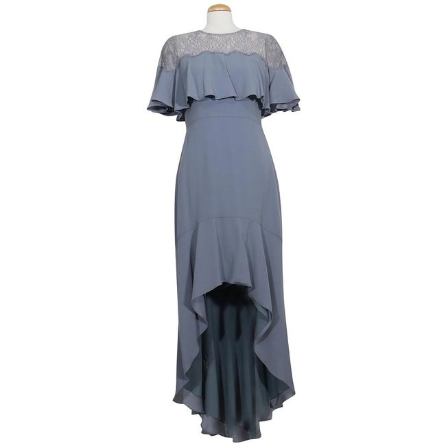 Item - Light Ash Blue Barbara High-low Ruffle Caplet Lace Accent Gown Long Formal Dress Size 4 (S)