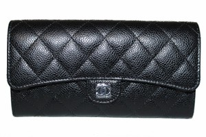 Chanel Chanel Black New Quilted Caviar Leather Flap Wallet