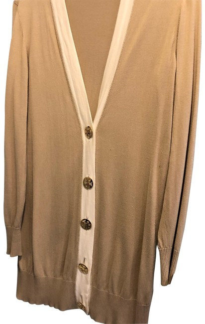 Item - Taupe with White Trim. Gold Hardware. Cardigan Size 4 (S)