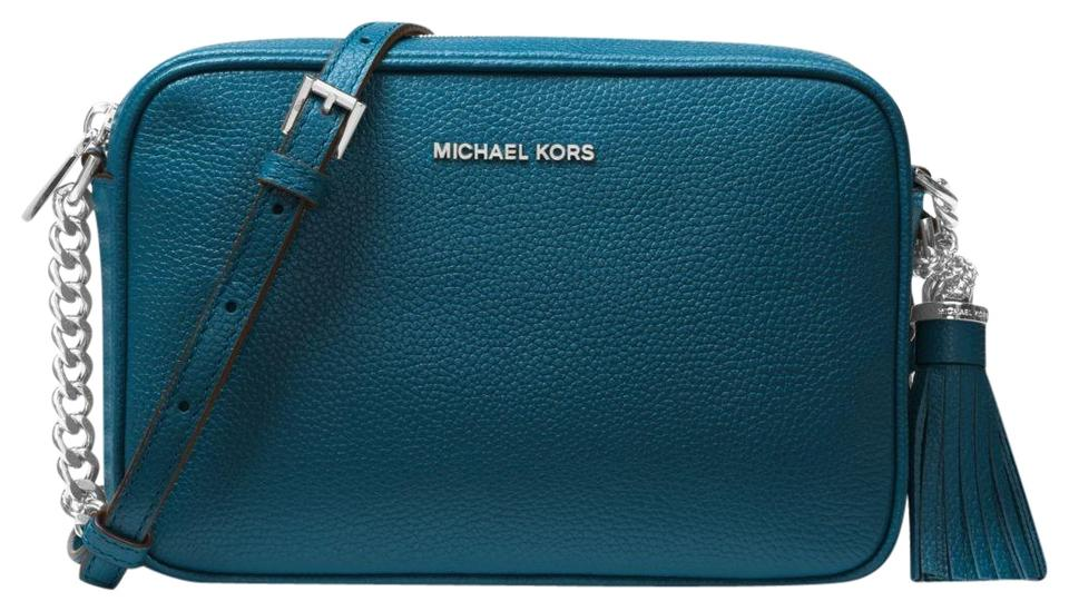 3e64c23b1b Michael Kors Ginny 32f7sgnm8l Teal Leather Cross Body Bag - Tradesy