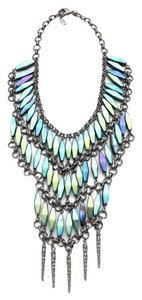 Fallon Fallon Cairo Bib Necklace In Iridescent Green