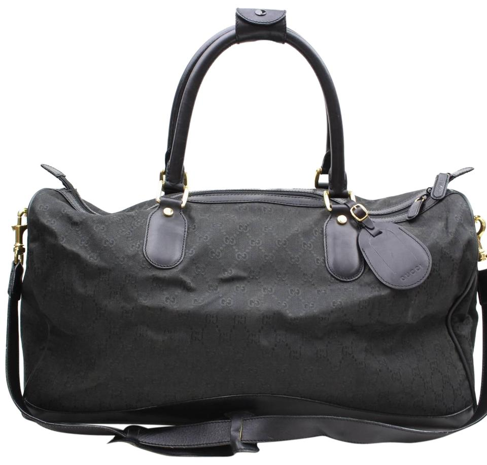 e0ced9793d Gucci Boston Gg Monogram Duffle with Strap 869649 Black Canvas  Weekend Travel Bag