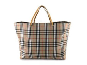 Burberry Haymarket Novacheck Plaid Neverfull Shopper Tote in Beige 3481d0dc7927a