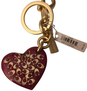 Coach Coach Pink and Gold Signature Heart Key Chain f32230