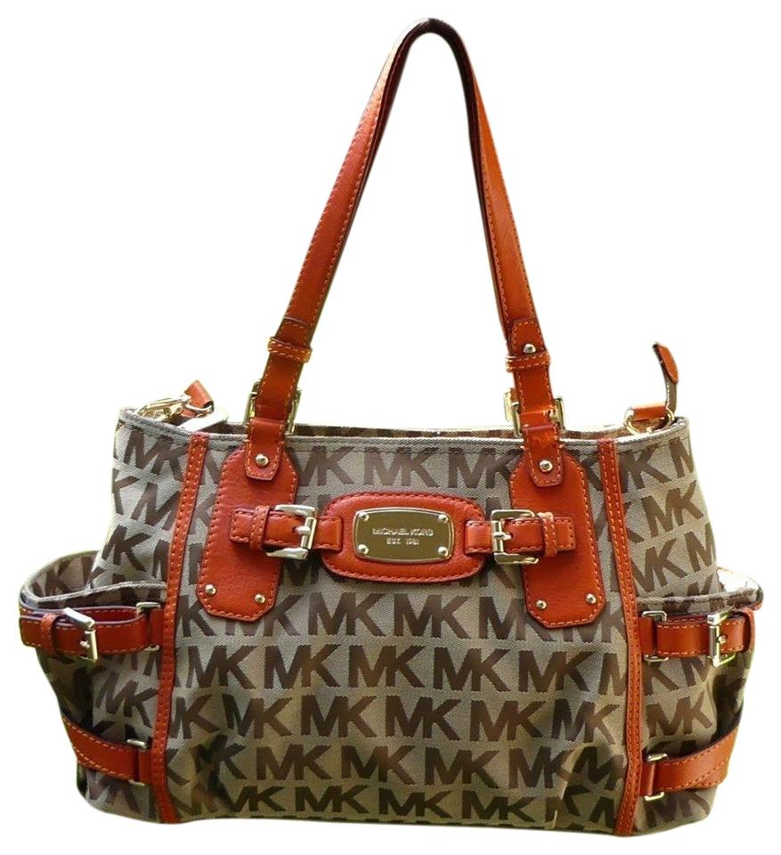 c0b102735fff Michael Kors Mk Gansevoort Large Logo Monogram Top Zip Mk Satchel in Orange  Beige Khaki  ...