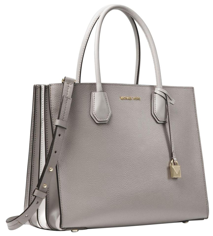 d98c240c3f9f Michael Kors Mercer Large Pebbled Accordion 30t8tm9t3l Pearl Grey ...