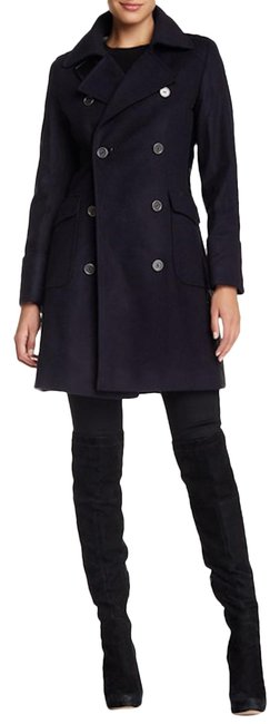 Item - Navy Blue Black Lieutenant Wool Cashmere Leather Quilted Blazer Trench Coat Trenchcoat Jacket Size 4 (S)