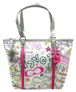 Coach Butterfly Poppy New Tote in Silver/Light Grey/Pink/Orange/Metallic Silver/Yellow/Multicolor