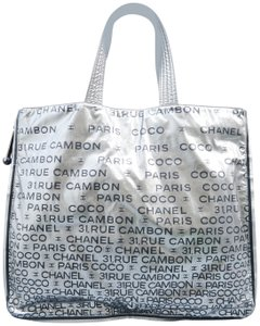 Chanel Logo Embossed Unlimited Tote in silver