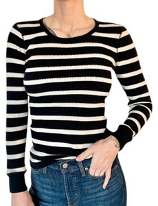 J.Crew T Shirt Black and White Striped