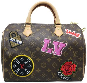 Louis Vuitton Speedy Lv Monogram Bandouliere Canvas Satchel in Brown