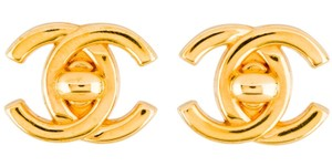 Chanel CC Logo Turn Lock Turnlock GHW Bag Ear Clips On Large Medium Classic