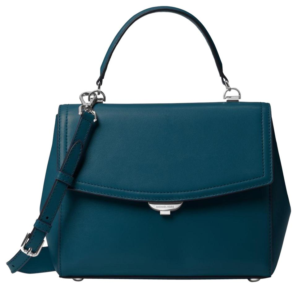 5984c04ad28d2 Michael Kors Ava Medium 30f8savs2l Luxe Teal Leather Satchel - Tradesy