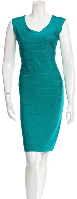 Item - Blue Turquoise Aqua Dragonfly Bandage Signature Essential Sleeveless Round U Neck Fitted Bands Slim Mid-length Night Out Dress Size 8 (M)