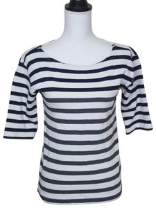 J.Crew 3/4sleeve Career Casual Boatneck Top Black, Gray, White, Striped