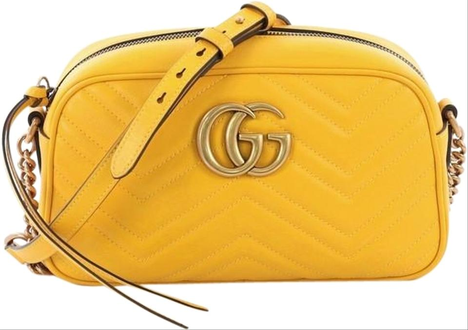 6521259137ba Gucci Marmont Matelasse Small Yellow Leather Shoulder Bag - Tradesy
