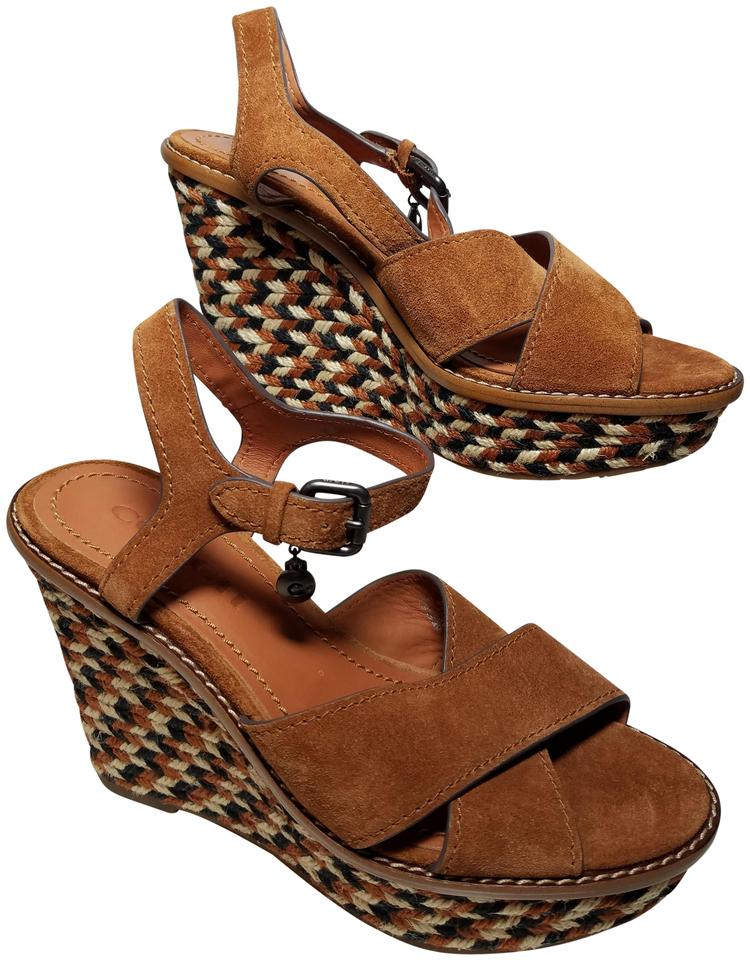 14734897dc Coach Brown Saddle G2213 Suede Cross Band Sandals Wedges Size US 7 ...
