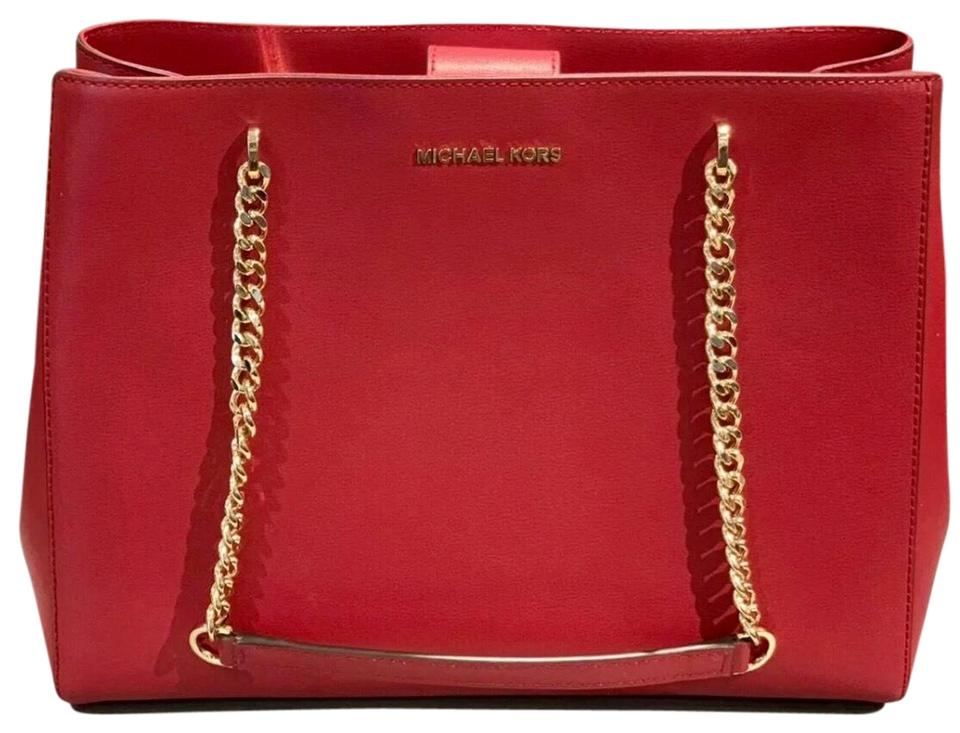 6fecaf5add9d Michael Kors Ellis Large Red Leather Tote - Tradesy