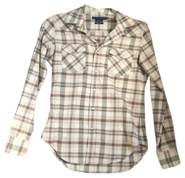 Item - Tan Green Red Slim Fit Flannel Button-down Top Size 4 (S)