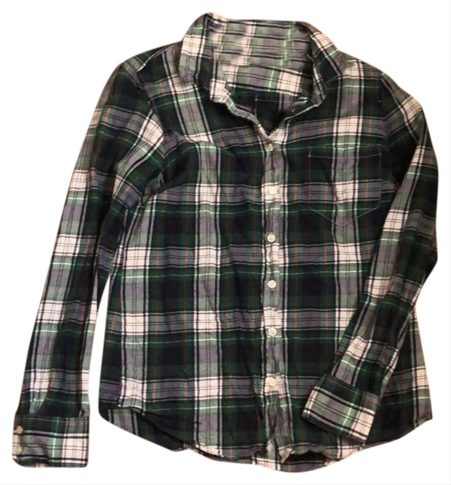 ab0282a9 J.Crew Green Classic Flannel Button-down Top Size 4 (S) - Tradesy