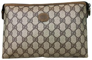 Gucci Brown Vintage GG Web Canvas Cosmetic Pouch
