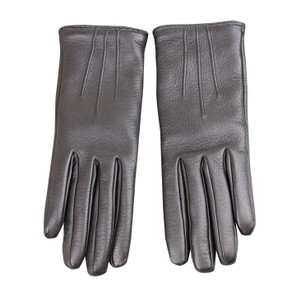 Gucci Women's Metal G Button Black Leather / Cashmere Gloves 258156 (7.5)