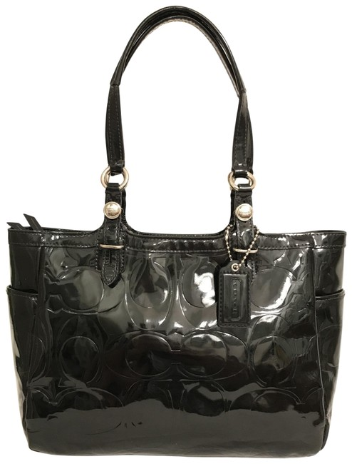 Item - Gallery C C Embossed F16564 Black Silver Patent Leather Tote