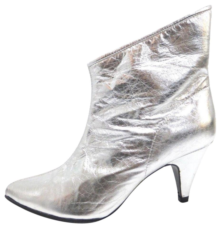 bf45c624e Sigerson Morrison Silver Metallic Leather Ankle 8 It Boots/Booties ...