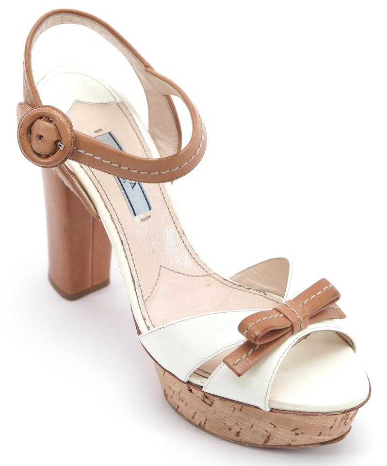 a248c2c1a2b Prada Saffiano Leather Saffiano Leather Sandal White Platforms Image 0 ...