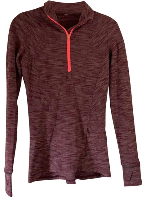 Item - Maroon with Neon Pink Zipper Long Sleeved Activewear Top Size 4 (S)