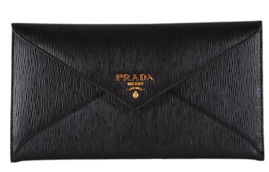 75786865b5db Prada New Prada Black Vitello Saffiano Leather Flap Envelope Wallet Clutch  Image 0 ...