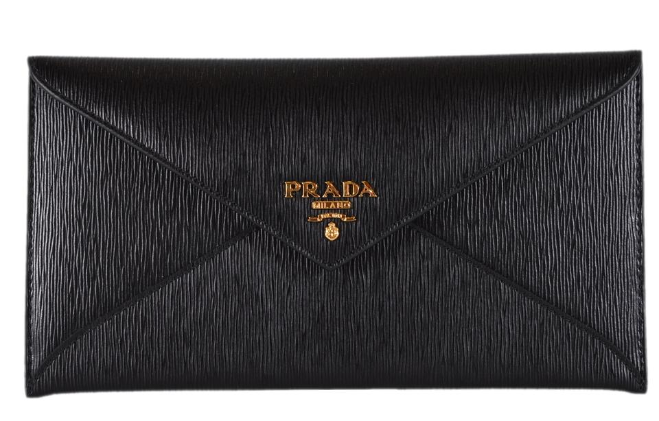 0203d1c76a8e41 ... uk prada new prada black vitello saffiano leather flap envelope wallet  clutch 0fecf ced41 ...