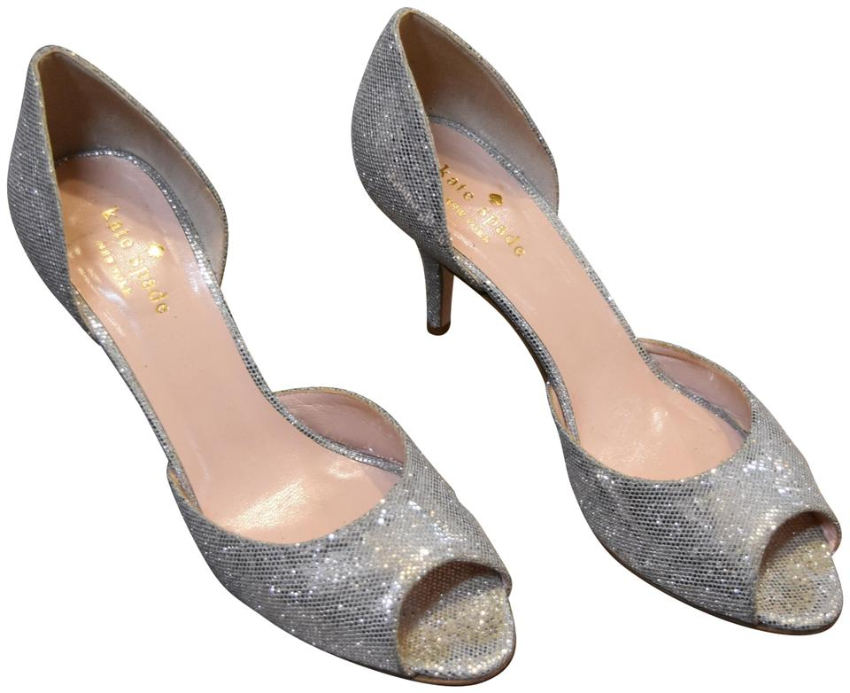 54f31e72cbf3b Kate Spade Silver Sparkly Kitten Heels Pumps Size US 7 Regular (M, B ...