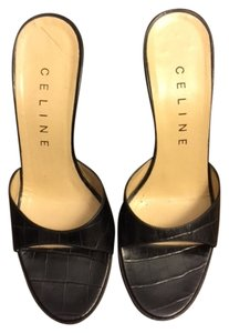 Céline Leather Croc High Heel Classic Timeless Designer Great Condition Luxury Slip On Black Sandals