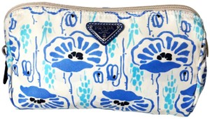 Prada Prada Nylon Velo Floral Ivory Blue and Beige Cosmetic Bag / Pouch