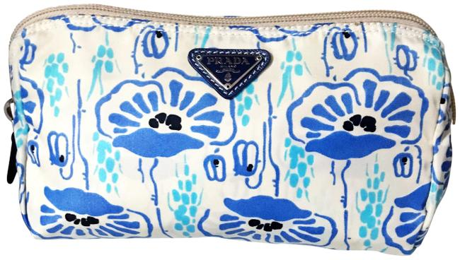 Item - Ivory Blue and Beige Nylon Velo Floral / Pouch Cosmetic Bag