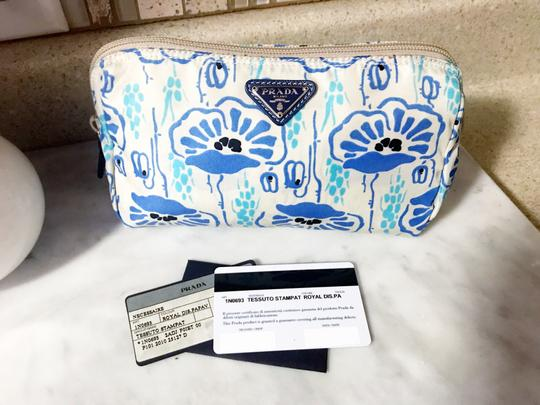 Prada Prada Nylon Velo Floral Ivory Blue and Beige Cosmetic Bag / Pouch Image 1