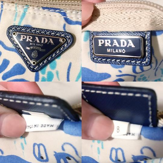 Prada Prada Nylon Velo Floral Ivory Blue and Beige Cosmetic Bag / Pouch Image 10