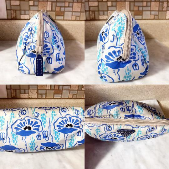 Prada Prada Nylon Velo Floral Ivory Blue and Beige Cosmetic Bag / Pouch Image 2