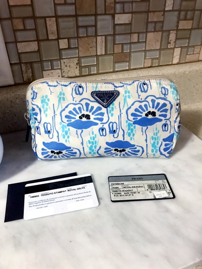 Prada Prada Nylon Velo Floral Ivory Blue and Beige Cosmetic Bag / Pouch Image 3